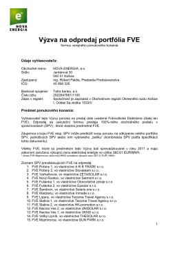 Výzva na odpredaj portfólia FVE