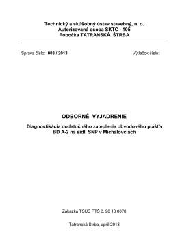 Posúdenie porúch zateplenie - Odborné