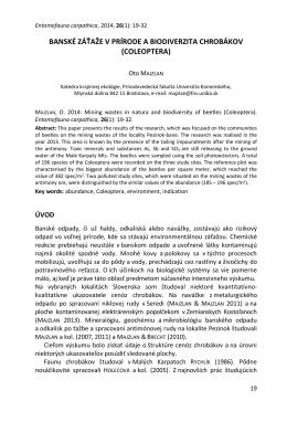 banské záťaže v prírode a biodiverzita chrobákov (coleoptera)