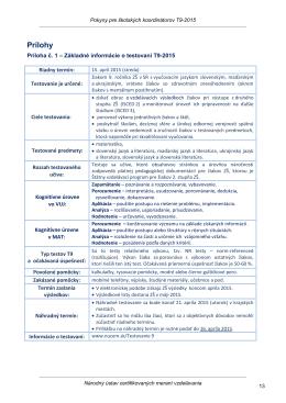 Základné informácie o testovaní T9-2015