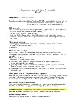 Informácie o testovaní deviatakov 13. 3. 2013