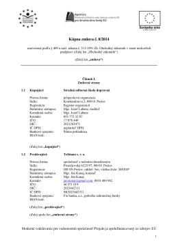Kúpna zmluva č. 8/2014 - Stredná odborná škola dopravná