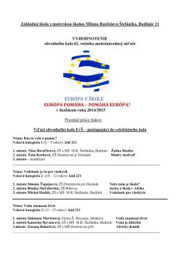 EURÓPA V ŠKOLE - Základná škola s materskou školou Budimír 11