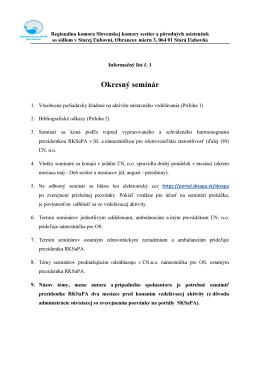 Informačný list - OKRESNÝ SEMINÁR