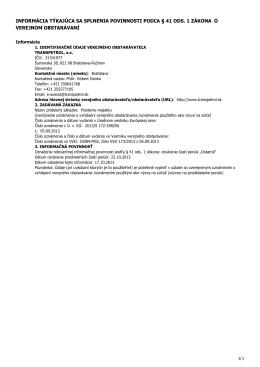 informácia týkajúca sa splnenia povinnosti podľa § 41