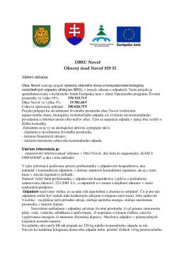 separácia a zhodnocovanie odpadov obce Novoť