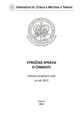 Výročná správa FSV UCM 2012