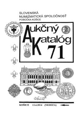 Aukčného katalógu - Slovenská numizmatická spoločnosť, pobočka
