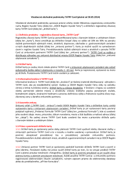 Všeobecné obchodné podmienky TATRY Card (platné od 30.05