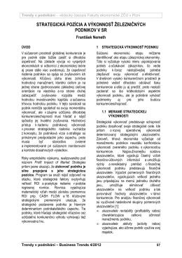 strategická pozícia a výkonnosť železničných podnikov v sr