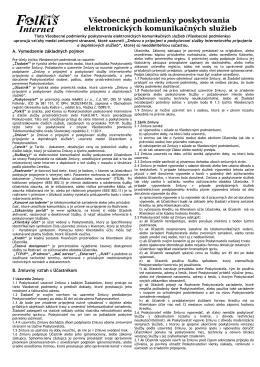 Vseobecné podmienky poskytovania služieb (PDF)