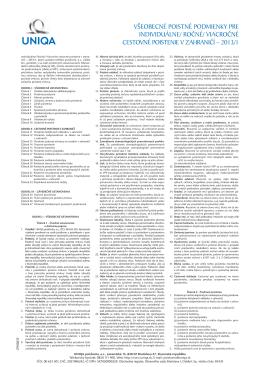 Všeobecné poistné podmienky – Uniqa poisťovňa
