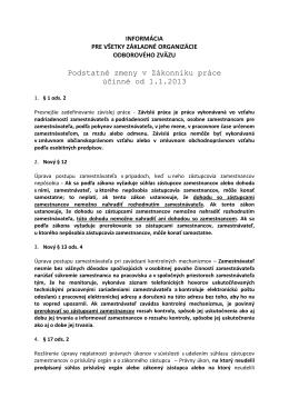 Podstatné zmeny v Zákonníku práce účinné od 1.1.2013