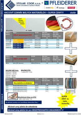 Akciový cenník na laminovanú DTD, 5.11.2014