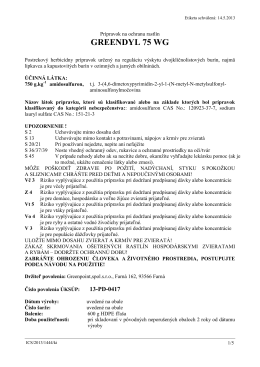 Etiketa prípravku GREENDYL 75 WG (PDF)