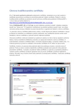 Obnova kvalifikovaného certifikátu