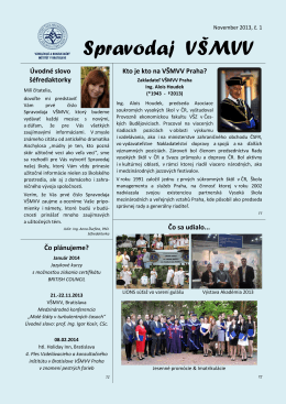 Spravodaj VSMVV - 10/2013 c.1 - Vysoká škola mezinárodních a