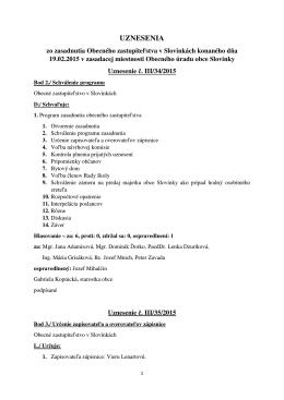 Uznesenia zo zasadnutia Obecného zastupiteľstva v