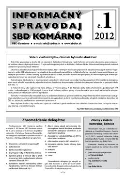 Spravodaj 2012/01 - Stavebné bytové družstvo Komárno