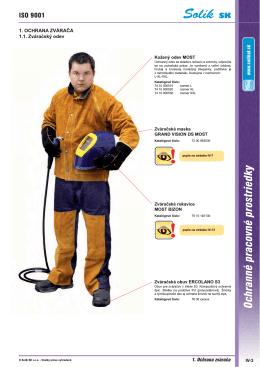 Výrobky na ochranu zvárača