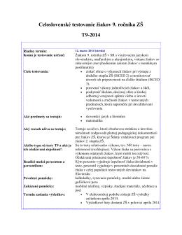 Celoslovenské testovanie žiakov 9. ročníka ZŠ T9