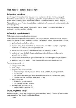 Web dizajnér - zadanie školské kolo Informácie o projekte