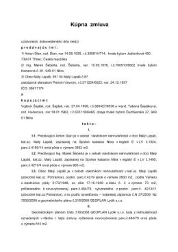 Kúpna zmluva zo dňa 16.8.2011 (predaj a kúpa