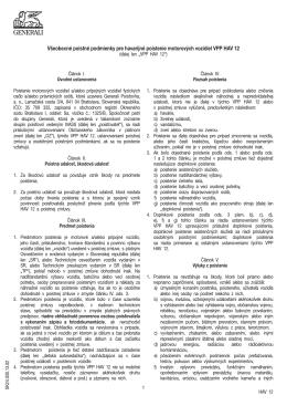 Všeobecné poistné podmienky pre havarijné poistenie