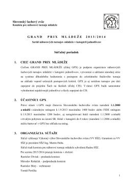 Súťažný poriadok GPX 2013/2014