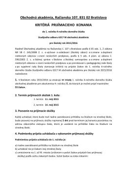KRITÉRIÁ PRIJÍMACIEHO KONANIA pre školský rok 2015/2016