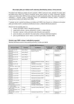 Havárijný plán - MDS Istrocentrum as