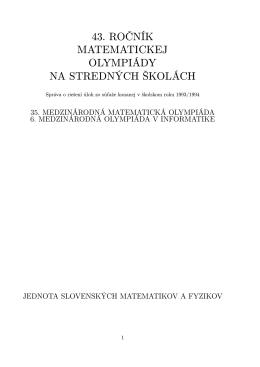 43. ročník MO / 9. ročník OI