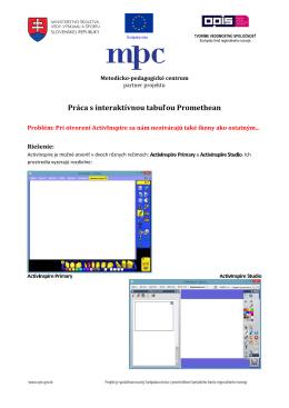 Práca s interaktívnou tabuľou Promethean