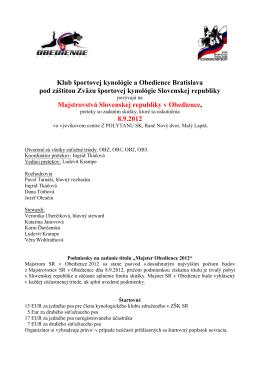 Klub športovej kynológie a Obedience Bratislava pod - ZŠK-SR
