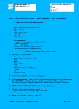 VPP - Chlieb a pečivo - 2013 - Špecializované zariadenie TEREZA