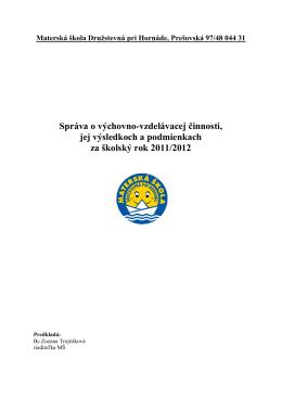 Správa o výchovno-vzdelávacej činnosti, jej výsledkoch