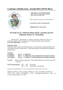 Centrum voľného času , Farská 84/5, 019 01 Ilava
