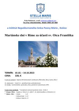 Mariánske dni v Ríme za účasti sv. Otca Františka
