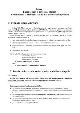 Pokyny k žiadostiam o povolenie stavieb a ohláseniam k