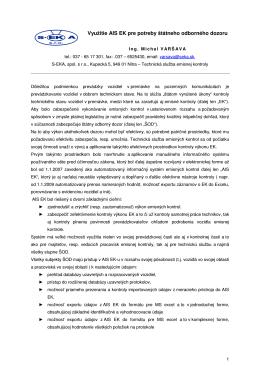 Využitie AIS EK pre potreby štátneho odborného dozoru