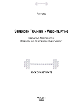 STRENGTH TRAINING IN WEIGHTLIFTING Book of abstracts