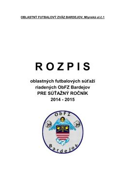 Rozpis súťaží ObFZ Bardejov 2014-2015