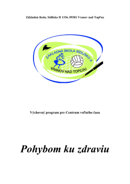 Výchovný program CVČ 2013/2014 - Základná škola, Sídlisko II