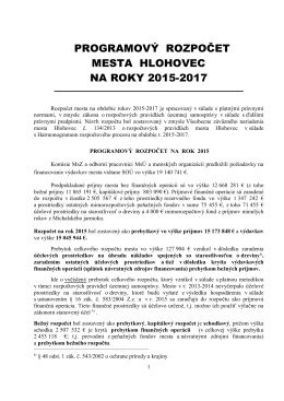 Schválený programový rozpočet mesta Hlohovec na roky 2015