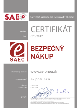 Certifikát na stiahnutie tu - Az