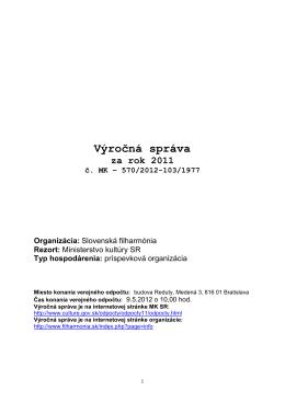 Slovenská filharmónia, Bratislava - Ministerstvo kultúry SR