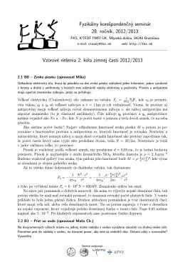 Fyzikálny korešpondenčný seminár 28. ročník, 2012/2013
