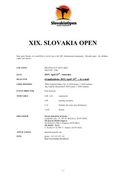 XIX. SLOVAKIA OPEN