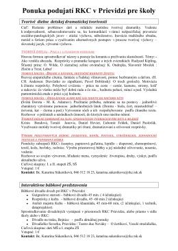 Ponuka podujatí RKC v Prievidzi pre školy