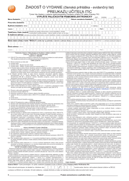 Žiadosť o vydanie preukazu učiteľa